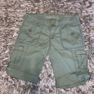 Green Hollister Cargo Bermuda Shorts Lace Detail